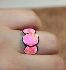pink fire opal ring gemstone silver jewelry Sz 6.5 8.5 cocktail engagement band