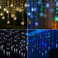96LEDs Icicle Hanging LED Snowflake Curtain String Lights Fairy Xmas Party Decor