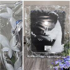 "Mikasa Crystal Glass Picture Frame 8"" X 10"" Photo Floral Mist Wedding 12x10 NIB"