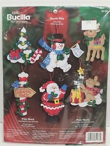2005 BUCILLA Christmas Felt Ornament Kit NORTH POLE 6 Pieces NEW/Sealed