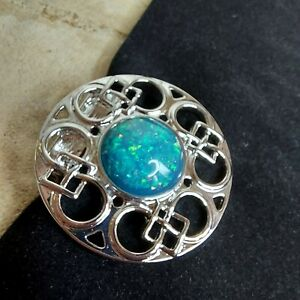 MUSEUM SELECTION Pictish Knotwork Scarf Clip, Silver Tone, Faux Opal