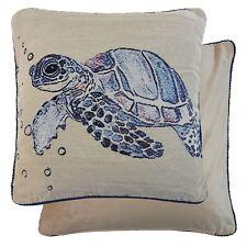 2x Océano Sea Turtle Tapicería Terciopelo Azul Negro 45.7cm-45 cm Fundas Cojín