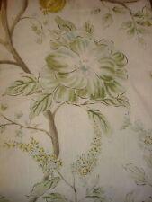 Sarah Richardson Errington Floral Green Aqua White Shabby Print Fabric 1.25 Yds