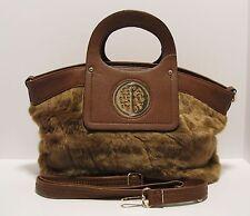 Purse Brown Faux Fur Handbag Convert to Cross Body Zipper Top Gold Hobo NWT L187