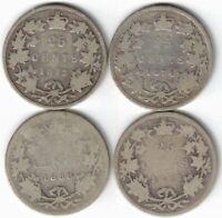 4 X CANADA 25 CENT QUARTERS VICTORIA 925 SILVER COINS 1872H 1874H 1888 1892