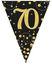 Holographic Black & Gold Happy 70th Birthday Bunting 3.9 metres long 11 Flags