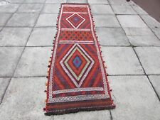Kilim Vintage Traditional Hand Made Oriental Red Long Kilim Runner 282x77cm