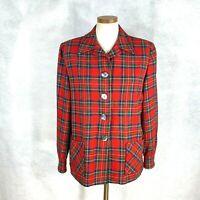 Pendleton Womens Woolen Mills 100% Virgin Wool Red Plaid Shirt Jacket Size 14