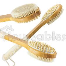 "15"" Natural Boar & Sisal Bristle 3 in 1 Long Handle Wooden Bath Skin Body Brush"