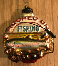 Hooked on Fishing Blown Glass Christmas Ornament