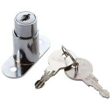 Silver Tone Metal Sliding Door Showcase Cylinder Plunger Lock with 2 Keys R6F6