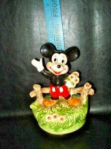 Vintage Mickey Mouse Porcelain Figurine Music Box WDP 6¼in Japan c1960s