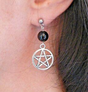 Pentacle & Black Onyx Earrings Hypo-allergenic Studs Pagan Solstice Lammas Gift
