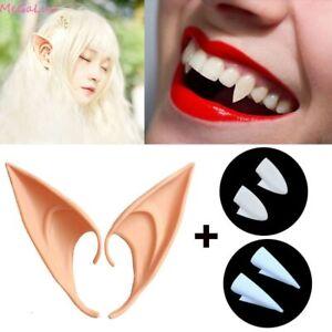Flesh-colored Latex Elf Ears 4 White Vampire Teeth Halloween Cosplay Party Decor