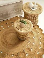 Jute Rug Natural Handmade Reversible 90x90 Cm Braided Strip style Hemp Carpet