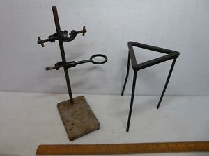 Vintage Science Lab. Retort stand with 2 different clamps + Bunsen Burner stand