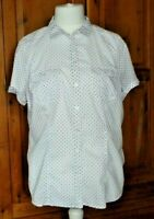 smart fitted shirt blouse size 14 white with spots cotton pockets BNWOT