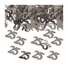 Konfetti 25 Metallic-Silber, 14 g Zahlenkonfetti Geburtstagsdeko Tischdeko