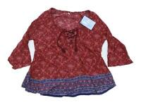 Hollister Womens Size M Geometric Cotton Blend Burgundy Top (Regular)