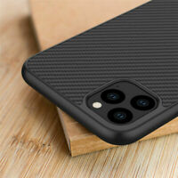 For iPhone 11 Pro Max Shockproof Matte Synthetic Carbon Fiber Back Case Cover