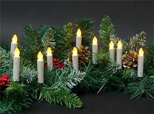 10 LED 3in Taper Candle String Lights Clip-On Tree Wreath Mantle *Battery* NIP