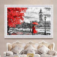 London Big Ben Red Umbrella Oil Canvas Painting Wall Art Picture Print Decor
