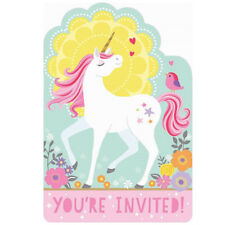 MAGICAL UNICORN INVITATIONS (8) ~ Birthday Party Supplies Stationery Cards Notes