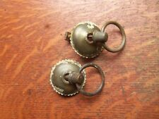 Two Antique Vintage Round Brass Drawer Pulls with Rings