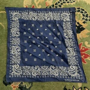 vtg fast color bandana handkerchief 80s blue cotton paisley