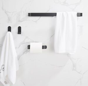 Black Bathroom Accessories Towel Rack 2 Hooks Paper Towel Holder Space aluminum