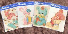 1970s Decorettes Waterslide Transfers, Vintage Kitsch Bunnies & Teddy Bears