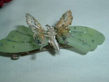 FROSTED GREEN LUCITE GLITTER BUTTERFLY HAIR BARRETTE IN GIFT BOX