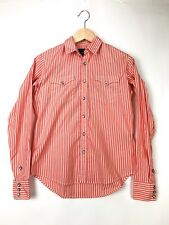 Ralph Lauren Blue Label Womens 4 Slim Fit Pearl Snap Blouse Western Coral Stripe