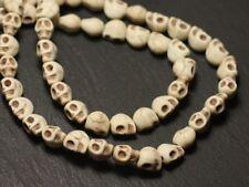 15pc - Perles Crâne Tête de Mort Turquoise Synthèse reconstituée 8mm Blanc - 874