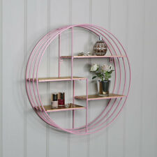 Round pink metal wire gold wall shelves bedroom living room display shelf