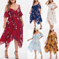 Plus Size Summer Women Floral Printed Short Sleeve V-Neck Cold Shouder Dress