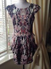 Lipsy Size 10 Pink/grey Smudge Print Side Drape Silky Dress