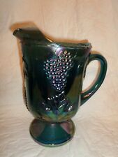 vintage blue Indiana glass iridescent harvest grape pattern 64oz pitcher