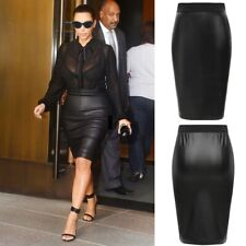 WOMENS WET LOOK FAUX LEATHER PENCIL BODYCON HIGH WAISTED MIDI SKIRT UK WTmiDL