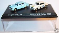 COFFRET ATLAS DUO 2 METAL UH PEUGEOT 404 1961 BLEU CLAIR RALLYE 1967 HO 1/87