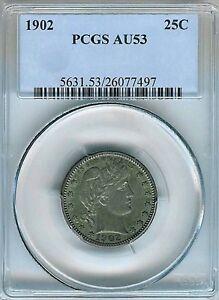 1902 Barber Quarter : PCGS AU53