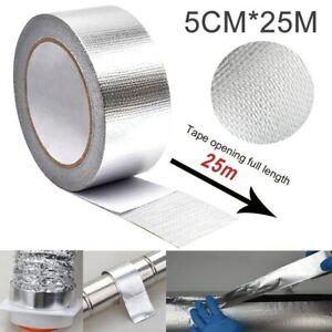 Heat Shield Wrap Tape Auto Exhaust Pipe Adhesive Reflective Aluminum 5cm*25m UK