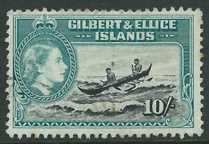 Gilbert & Ellice 1956 10/- fu, SG 75 cat £8.50