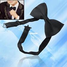 wedding party groom bestman tuxedo suit double layer black satin dicky bow tie
