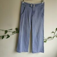 Chloé Light Blue Flare Straight Wide Leg Jeans 29 (T36) Low-Mid Rise Logo Patch