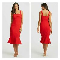 CALLI Womens Size 14 or US 10 Red Reese Frill Midi Dress NEW + TAGS