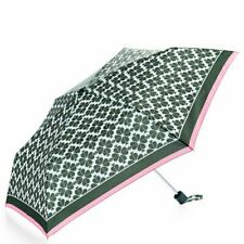 Kate Spade green white clover spades pink stripe AUTHENTIC folding evergreen NEW