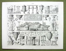 ROMAN DINNER Utensils Candelabra Keys Dice Knives - 1844 SUPERB Engraving Print