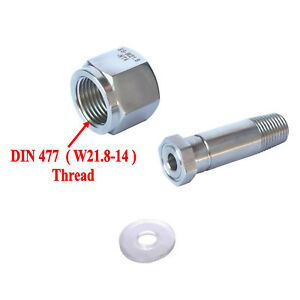Stainless Steel DIN 477/ W21.8 CO2 Regulator Inlet Nut & Nipple with Washer