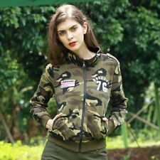Women Fashion Coat Military Skinny Slim Camouflage Army Green Knitted Cotton New